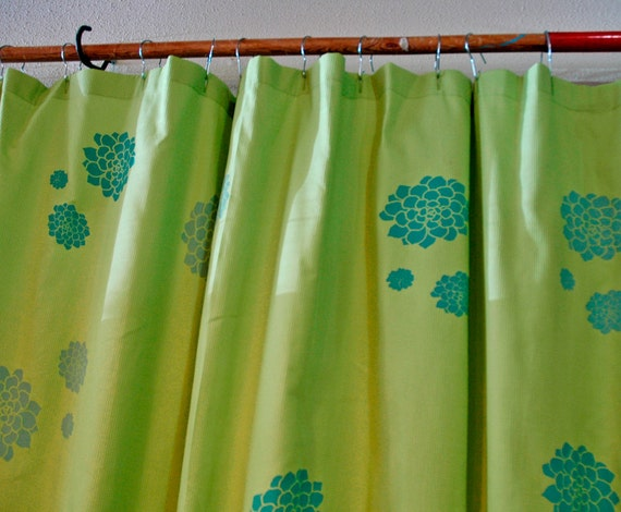 Items Similar To Bright Green Shower Curtain With Crassula Print In Aqua And Teal On Etsy