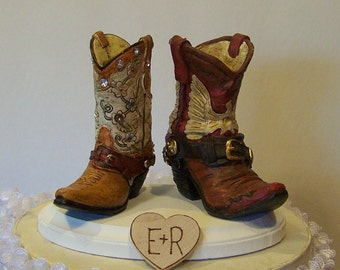 Wedding Cake Topper-His and Her Western Cowboy Boots