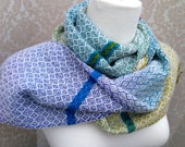 Green to Turquoise to Purple with White Handwoven Scarf DBJ13