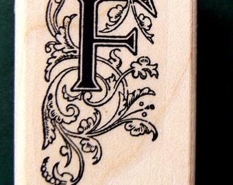 P41  Monogram F, Decorative  Rubber Stamp WM