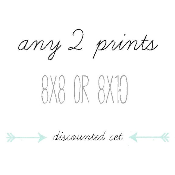 DISCOUNTED SET, Your Choice of Any Two Photographs 8x8 or 8x10 , Set of 2 Prints, Fine Art Photography, Home Decor