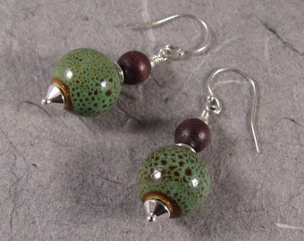 Green Porcelain and Wood Earrings