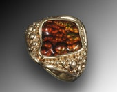 14K gold Fire agate ring