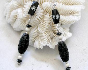 Carved Black Bone Earrings Sterling Silver Gemstones Metaphysical Healing Stones Boho Jewelry