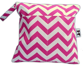 SALE -BEST Selling Wet Bags here -Large Wet/Dry Bag with Snap Handle in Candy Pink Chevron