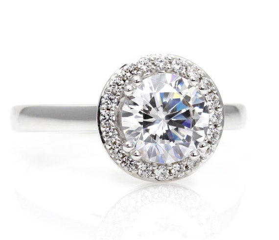 14k moissanite engagement ring halo plain by rareearth
