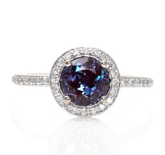Platinum Alexandrite Ring Diamond Halo Setting By Rareearth