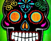 Sugar Skull embroidery patch 8X10 in. black multi orange eyes Dia de los Muertos