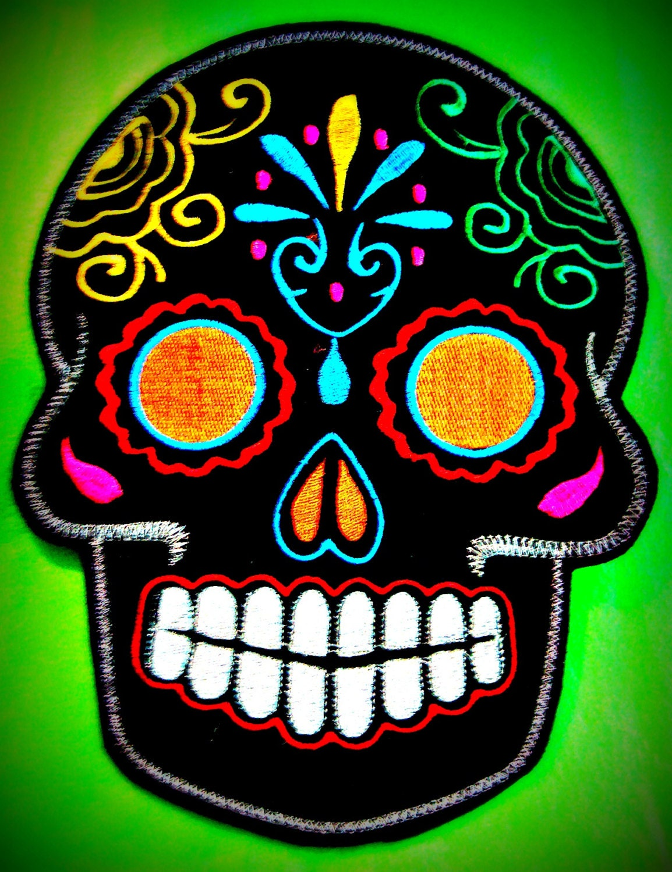 Sugar Skull embroidery patch 8X10 in. black multi orange eyes