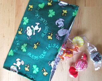 Reusable cloth snack bag - Irish Dog St Patricks Day