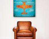 Children's Art flying squadron airplane custom colors and name graphic art gallery wrap on canvas