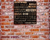 Nashville neighborhoods graphic typography on gallery wrapped canvas artwork by stephen fowler