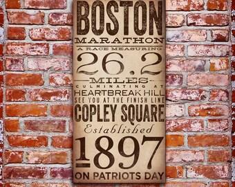 Boston Marathon original typography artwork by stephen fowler gallery wrapped canvas