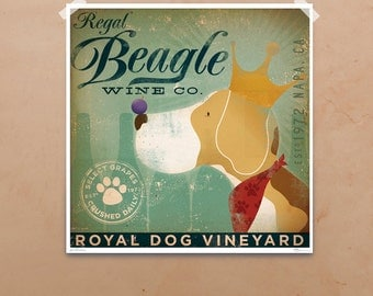 Regal Beagle Wine Company giclee archival signed artist's print by Stephen Fowler