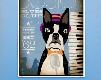 Boston Terrier Blues club original graphic illustration giclee archival signed print various sizes by stephen fowler