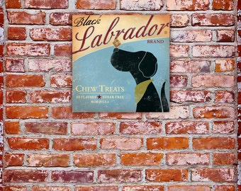 Black Labrador Brand treats original graphic illustration on gallery wrapped canvas by stephen fowler