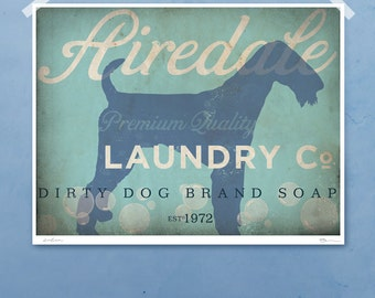 Airedale laundry company dog laundry room artwork giclee archival signed artists print by Stephen Fowler PIck a Size