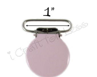 "10 Light Pink Enamel Round Face 1"" Suspender Clips w/ Rectangle Inserts to making Paci Pacifier Holders and Instructions - SEE COUPON"