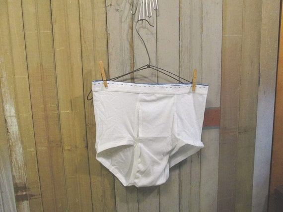 Vintage Cotton Underwear White Briefs dashed elastic 60s 70s mens L 38