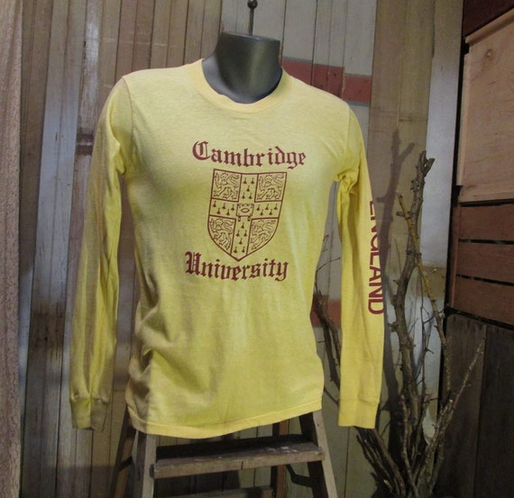 Cambridge University England Tshirt vintage 70s Screen Stars Cotton simple print M L