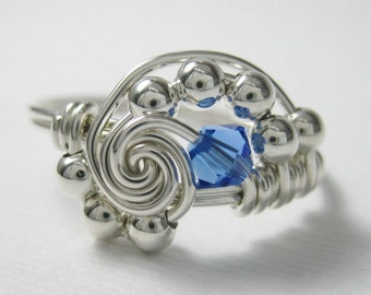 Personalized Birthstone Ring in Pi -- Wire Wrapped Ring Sterling Silver - All Birthstones Available