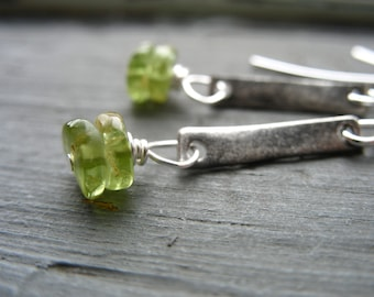 Peridot Earrings, Handmade Metalwork Peridot Gemstone Dangle Drop Earrings, Peridot Jewelry, Gemstone Jewelry