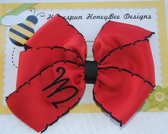 Embroidered Hair Bow - UGA Monogrammed Bow - Choose COLOR and LETTER - M2M Sorority Bow - Personalized Hairbow - Alpha - Sigma - Delta - Phi