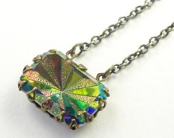Vintage jewel necklace iridescent vitrail rainbow gem glamour retro art deco sunburst crystal