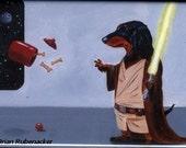 Dachshund dog art, Jedi Dog Art Magnet