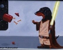 Dachshund Jedi Dog Art Magnet