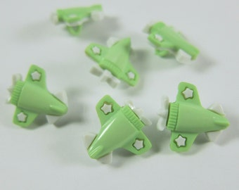 Light Green and White Airplane Novelty Buttons
