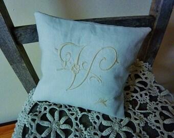 Monogrammed pillow  V with Rosebud  Ecru on  White Linen