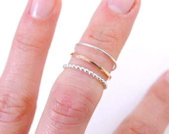 One Stacking Ring, Sterling Silver or 14k Gold Filled