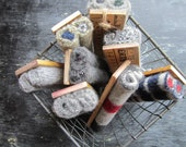 CHALKBOARD ERASERS from vintage yardsticks, upcycled wool, repurposed blackboard eraser