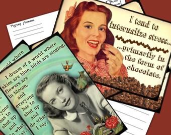 Snarkalicious Greetings Printable Postcards 2 Designs per set Instant Download