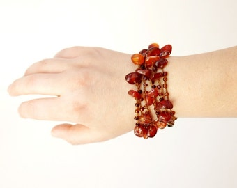 Brown Agate  Necklace, Lariat, Bracelet