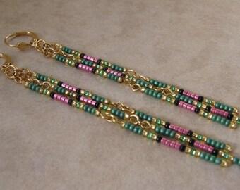 Seed Bead Chain Earrings - Sage/Pink