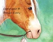Horse Art ACEO Indian Pony Palomino Pinto Buffalo Runner Horse Art ACEO and 4x6 Print horse artwork horse print horse gift equine print