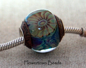 Lampwork Big Hole Bead, Mostly Blue Silver Glass with Murrini, Encased, SRA