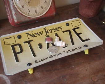 Vintage New Jersey License Plate Tray - Repurposed and Upcycled Home Decor - Garden State - Jersey Shore - FREE SHIPPING