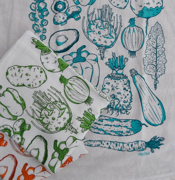 Vegetable Tea Towel - Hand Printed