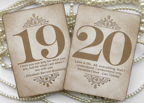 Gold Wedding Table Numbers - Vintage Charm with QUOTES - All Handmade in the UK - Your Color Choice