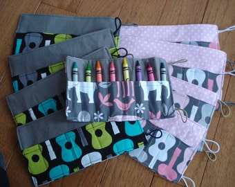 Crayon Roll-  party favor package, 16