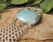 Delicate Amazonite and Twisted Chain Maille Bracelet - Sterling