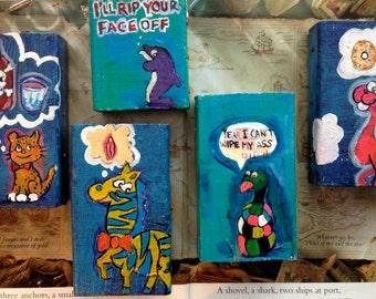 Funny low brow art mini block paintings set