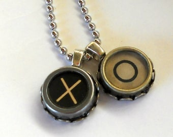 Typewriter Key Necklace, Hugs and Kisses - or, any two letters of your choice