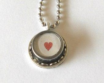Typewriter Key Necklace/Pendant - Heart -  Valentine