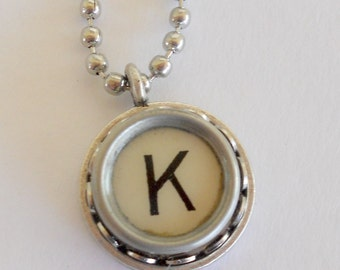 Initial Jewelry - Typewriter Key Necklace - Vintage -  All Letters Available - Typography Jewelry