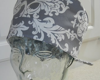 Tie Back Surgical Scrub Hat with Elegance Gray
