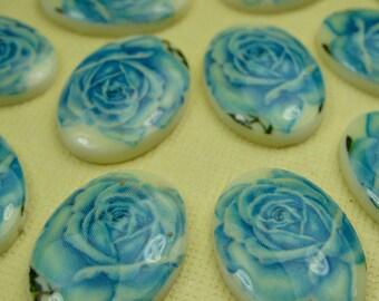 6 Vintage Blue Rose Cabochons